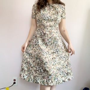 Vintage 50s New Look Floral Midi Dress Size Large